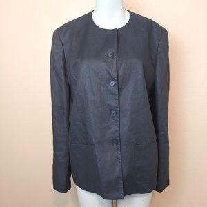 RALPH LAUREN Black Button Linen Jacket Size 14W